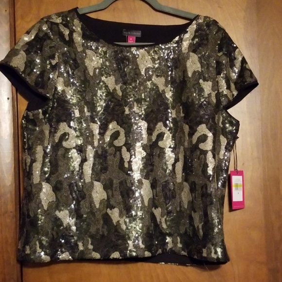 6ed0d0e517f14 Vince Camuto Tops | Camouflage Sequin Top | Poshmark
